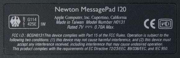 Newton MessagePad 120 - identification tag