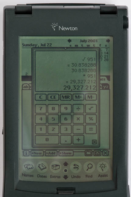 Newton MessagePad 120 - calculator screenshot