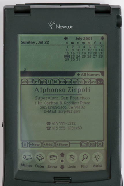 Newton MessagePad 120 - information-card screenshot