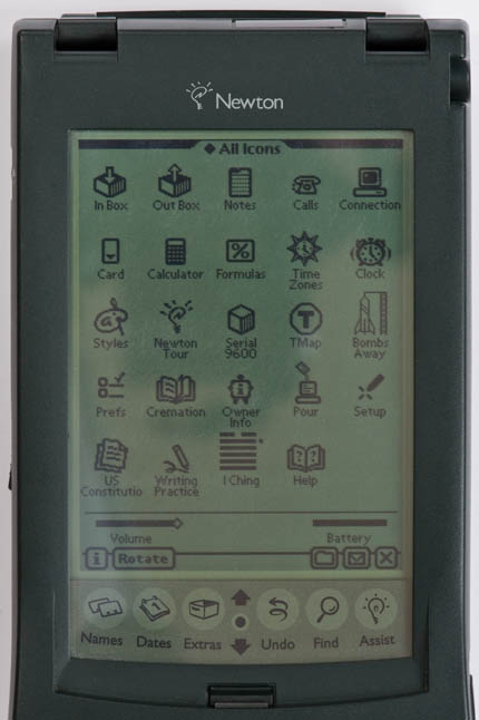 Newton MessagePad 120 - application icons screenshot