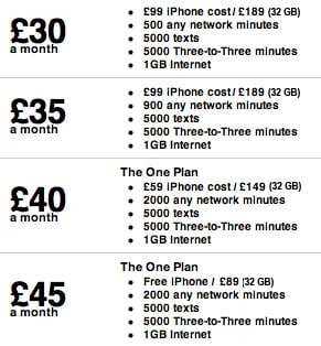 Three Mobile iPhone 4 Tariffs