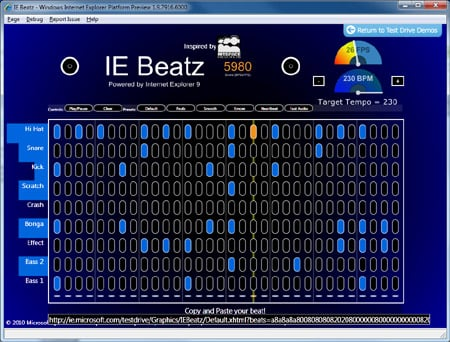 Beatz in IE9 preview