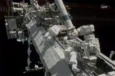Caldwell Dyson and Wheelock outside the ISS. Pic: NASA TV