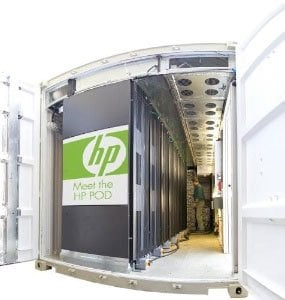iVEC HP POD exterior - blue shipping container with HP logos