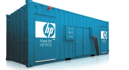 HP Pod blue shipping container
