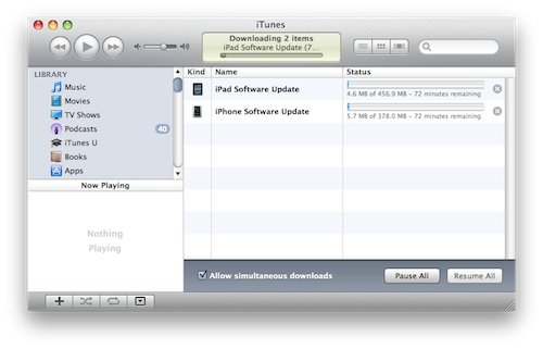 Screen capture of iOS downloads