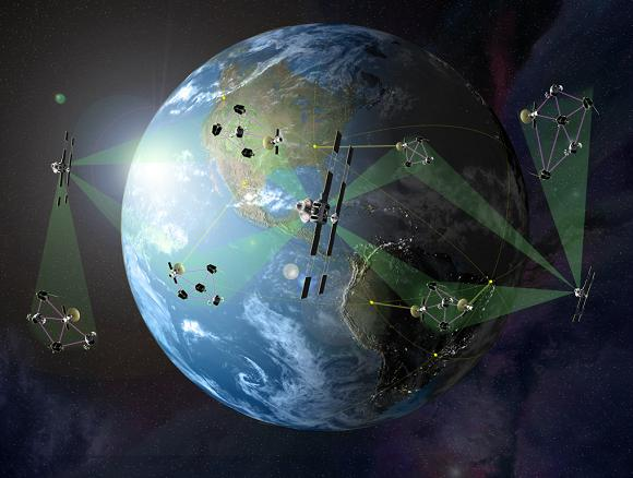 Concept graphic illustrating the 'fractionated' satellite concept. Credit: DARPA