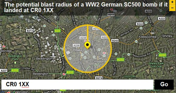 Blast radius of a German WWII SC500 bomb if it landed at CR0 1XX