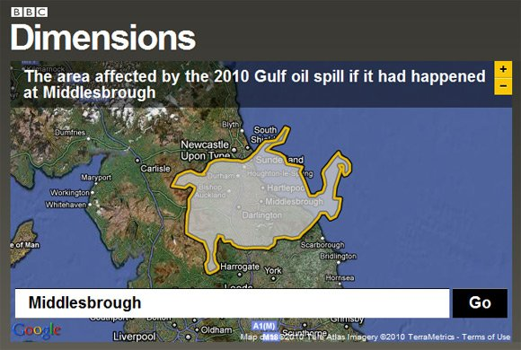 BBC Dimensions grab showing Gulf oil spill centred on Middlesbrough