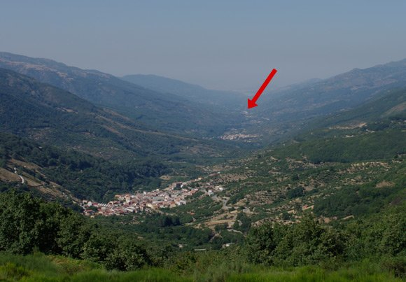 The view down the valley from Puerto de Tornavacas, with target location arrowed