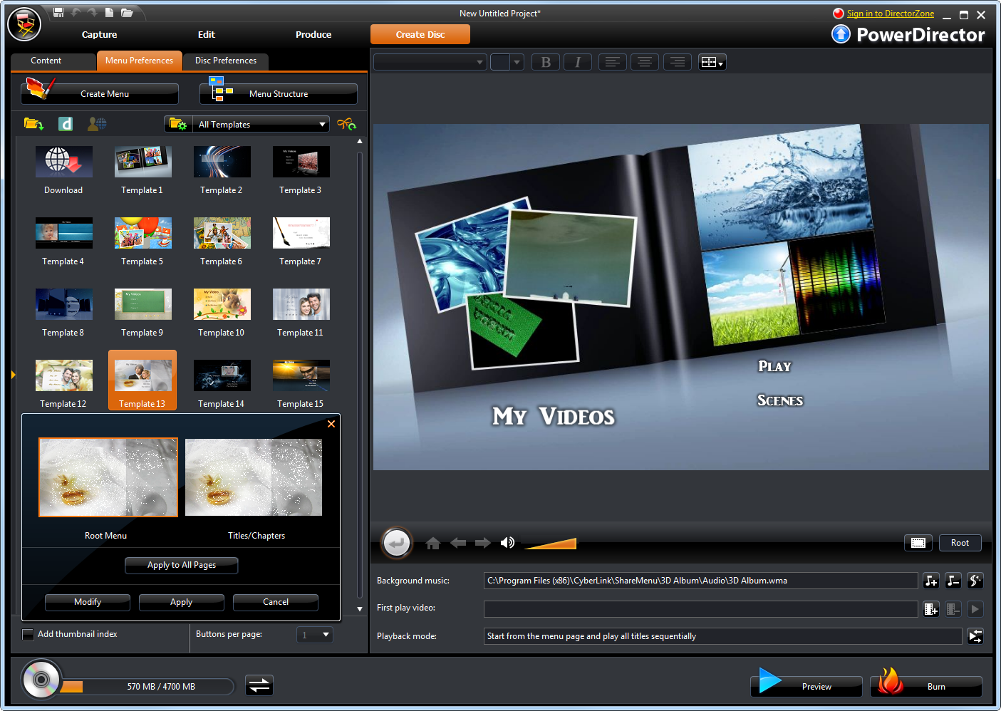 Cyberlink v nero media authoring suites the register for Powerdirector dvd menu templates