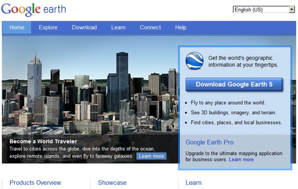 Google Earth's new website
