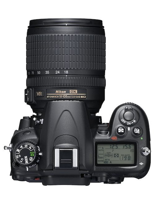 Nikon D7000 DSLR camera from the top