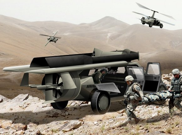 SR/C concept for the DARPA Transformer TX programme, in ground mode. Credit: AAI Corp