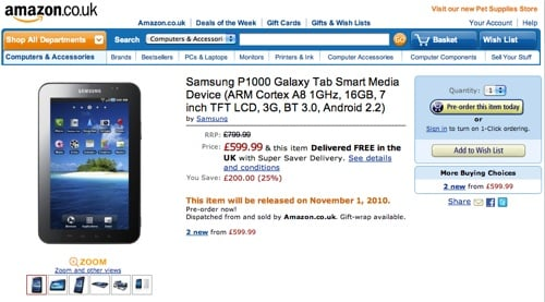 Samsung Galaxy Tab on Amazon.co.uk