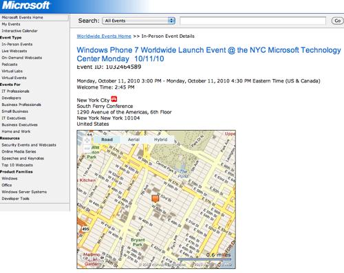 Microsoft Windows Phone 7 event