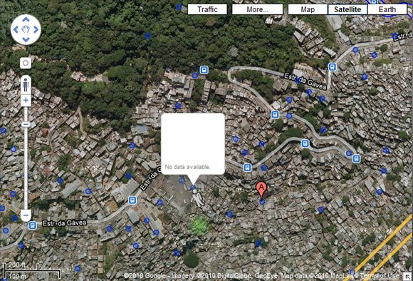 Satellite view of Rocinha, with no Street View data available