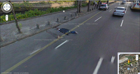 Dead body captured by Street View on Rio Street