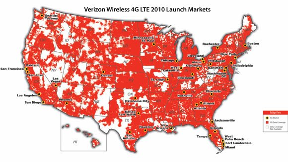 Verizon Wireless 4G LTE 2010 Launch Markets