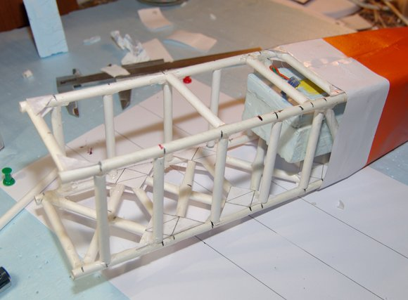 The central fuselage prepared for mounting the wings