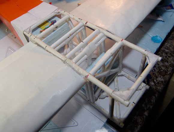 The finished internal bracing of the central fuselage
