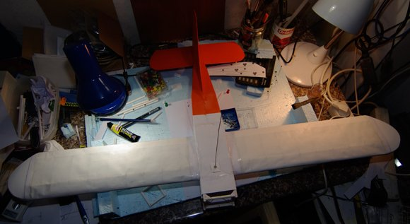 The finished fuselage, wings and tail
