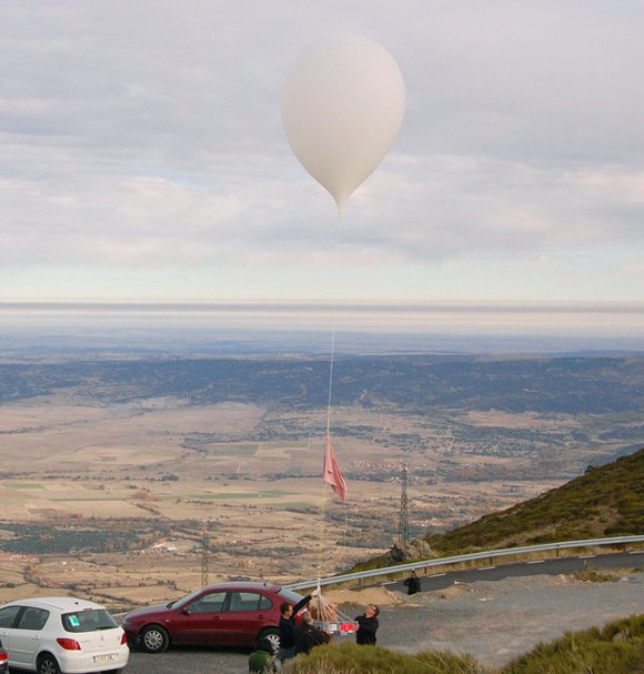 The balloon at the point of release