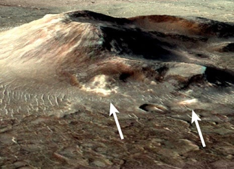 Silica deposits on a volcano in the Syrtis Major region of Mars. Credit: J R Skok/Brown University