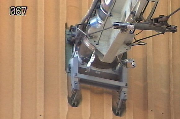 The leaky Ground Umbilical Carrier Plate (GUCP) attached to shuttle Discovery's last fuel tank. Credit: NASA