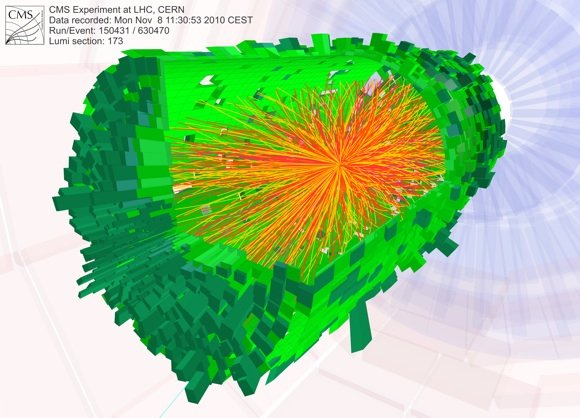 A heavy ion collision recorded by the CMS experiment. Credit: CERN