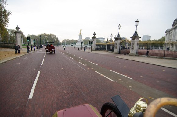 Speeding past Buckingham Palace