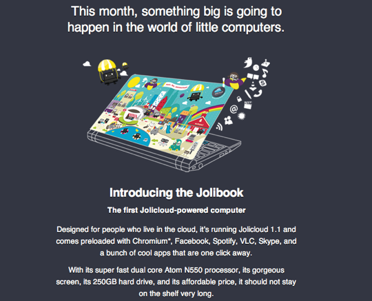 Jolicloud Jolibook ad
