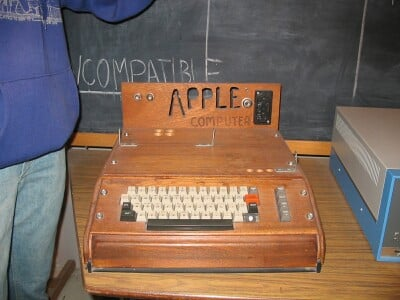 Apple 1 Computer housed in wooden casing - from Wikimedia