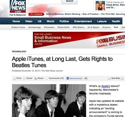 Fox says Beatles are from Manchester