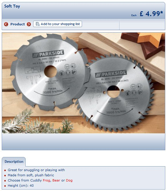LIDL's soft toy page showing circular saw blades