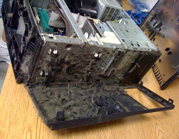 Dust encrusted PC front panel