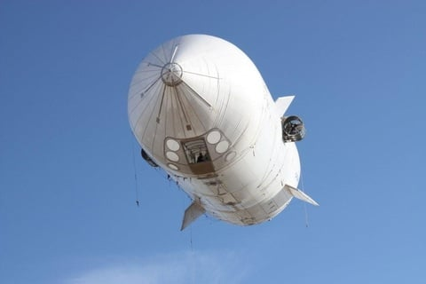 Half-scale prototype of the Bullet 580 airship in flight trials. Credit: E-Green