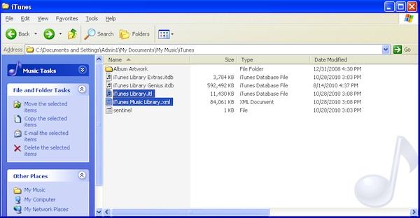 Screen capture of iTunes files