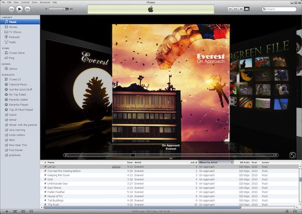Screen capture of iTunes on Win XP