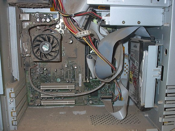 Interior of PC coated with dust