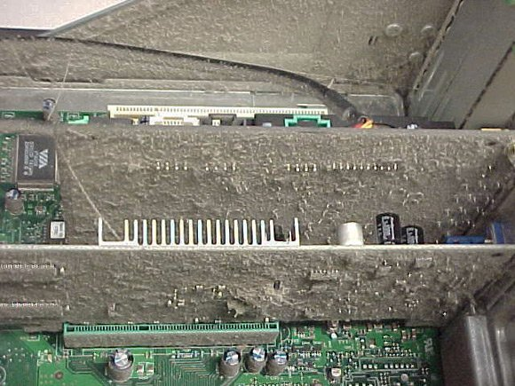 Compaq interior coated in strange dust