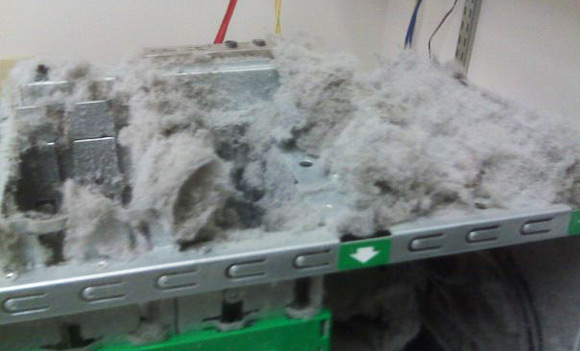 Inch-thick layer of fluff on PC case