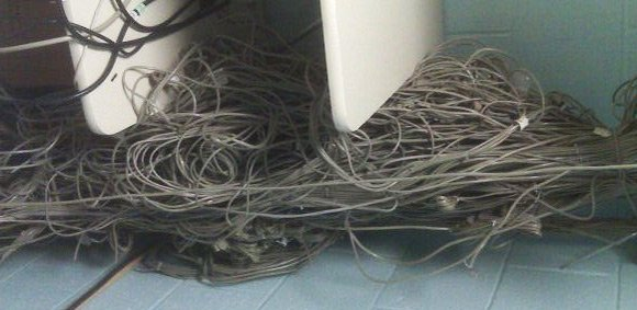 Big, big knot of Cat 5 cables