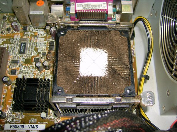 Smoker's heatsink covered in brown fur