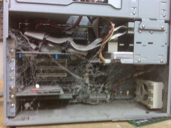 PC packed with cobwebs