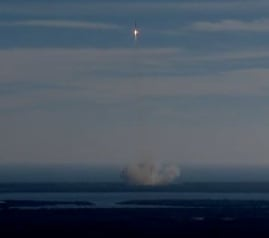The Dragon capsule launches from Cape Canaveral atop a Falcon 9 rocket. Credit: NASA TV