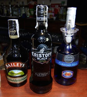 Blue Curacao, Baileys and black vodka