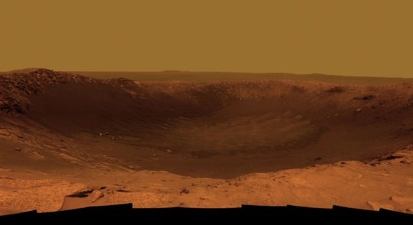 The Santa Maria crater on Mars, imaged by rover Opportunity. Credit: NASA/JPL-Caltech/Cornell/ASU