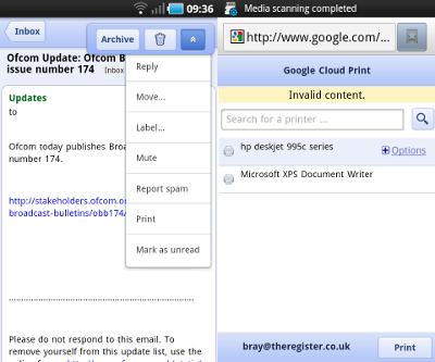 Google printing screen shot