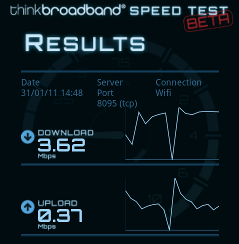 Speed test screen grab